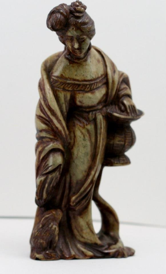 Old Hand Stone Kwan Yin with Lantern