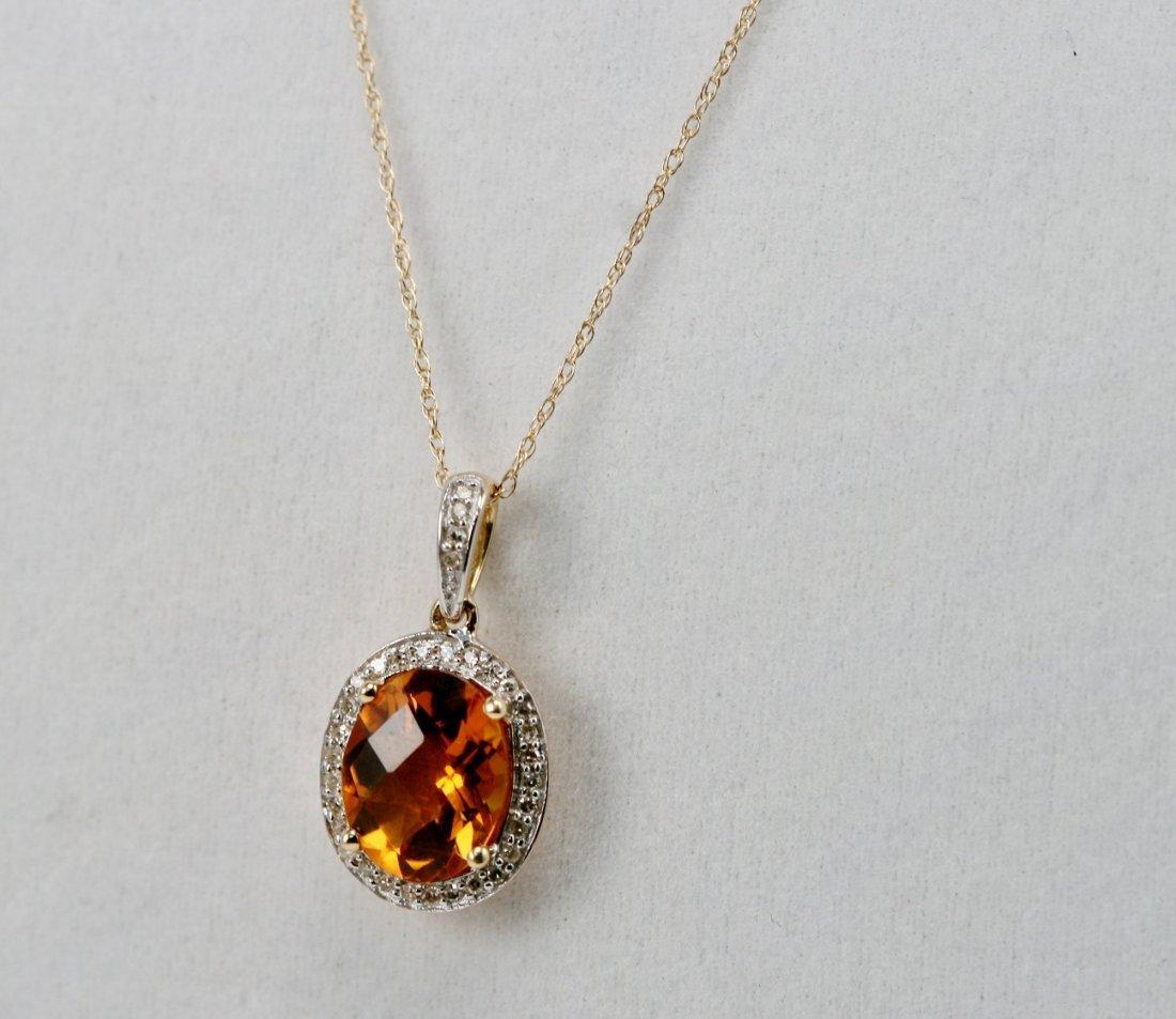 14K Y/G DIAMOND & CITRINE NECK
