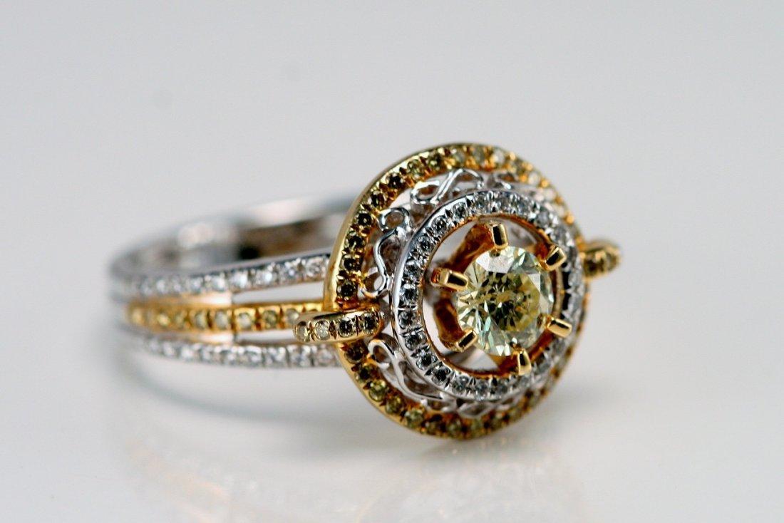 18K GOLD WT & YELLOW DIAMOND RING