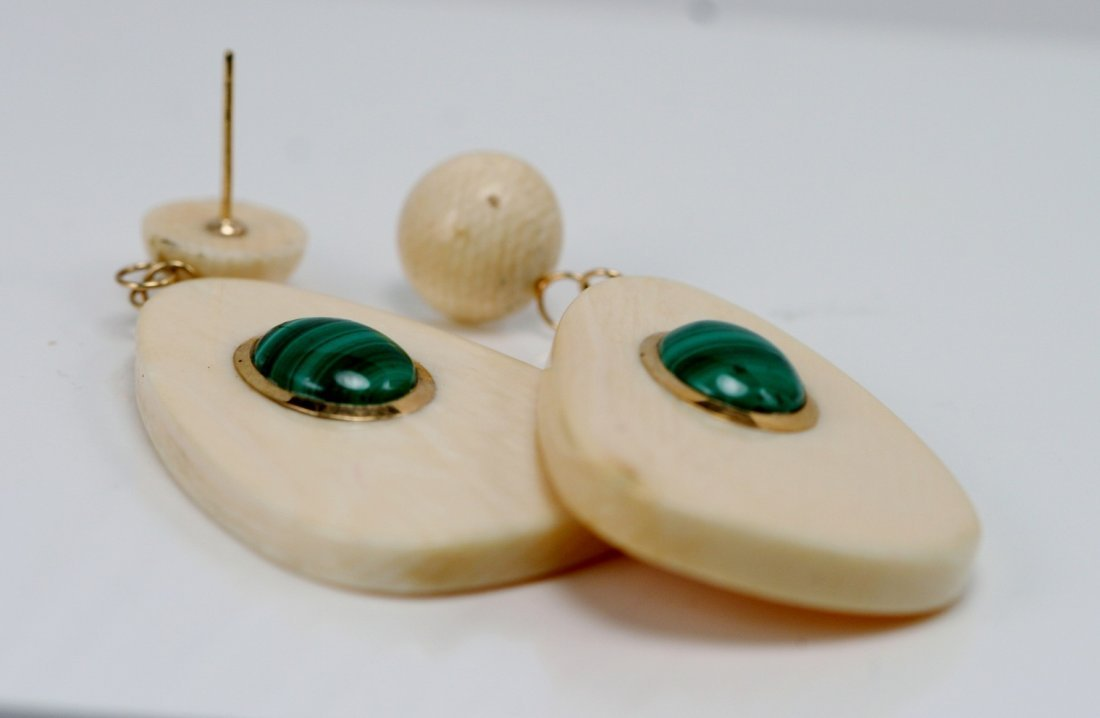 14K Gold Earrings with Malakite