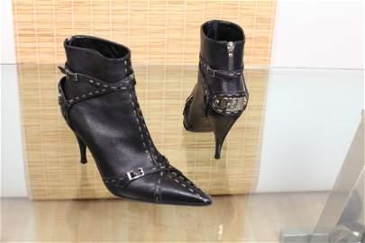 Fendi Black Leather Selleria Ankle Boot