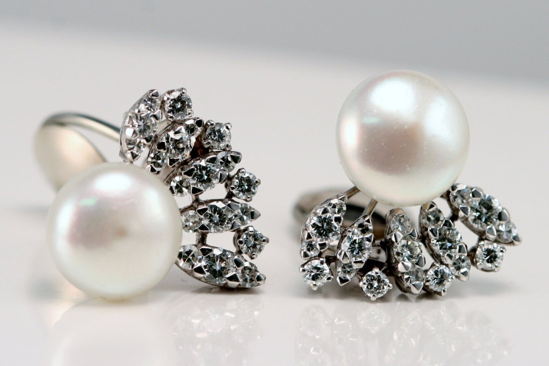 PLATINUM DIAMOND AND PEARL EARRINGS