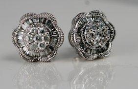 14K W/G DIAMOND EARRINGS