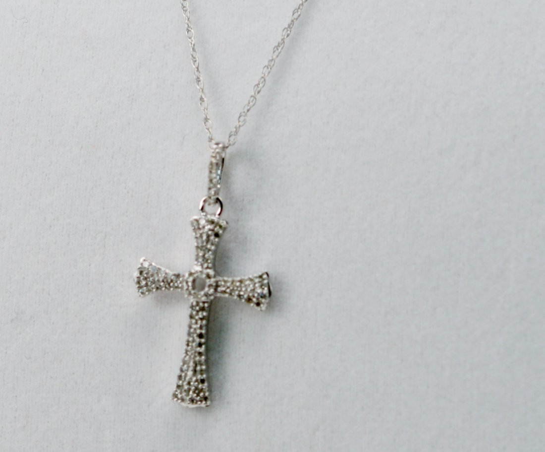 14K W/G DIAMOND CROSS