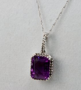 14K WT GOLD DIAMOND AND AMETHYST NECKLACE