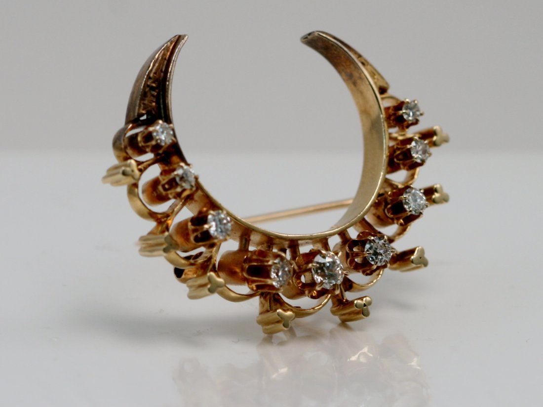 14K Y/G VICTORIAN MOON PIN WITH DIAMONDS