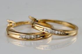 14K Y/G DIAMOND HOOP EARRINGS