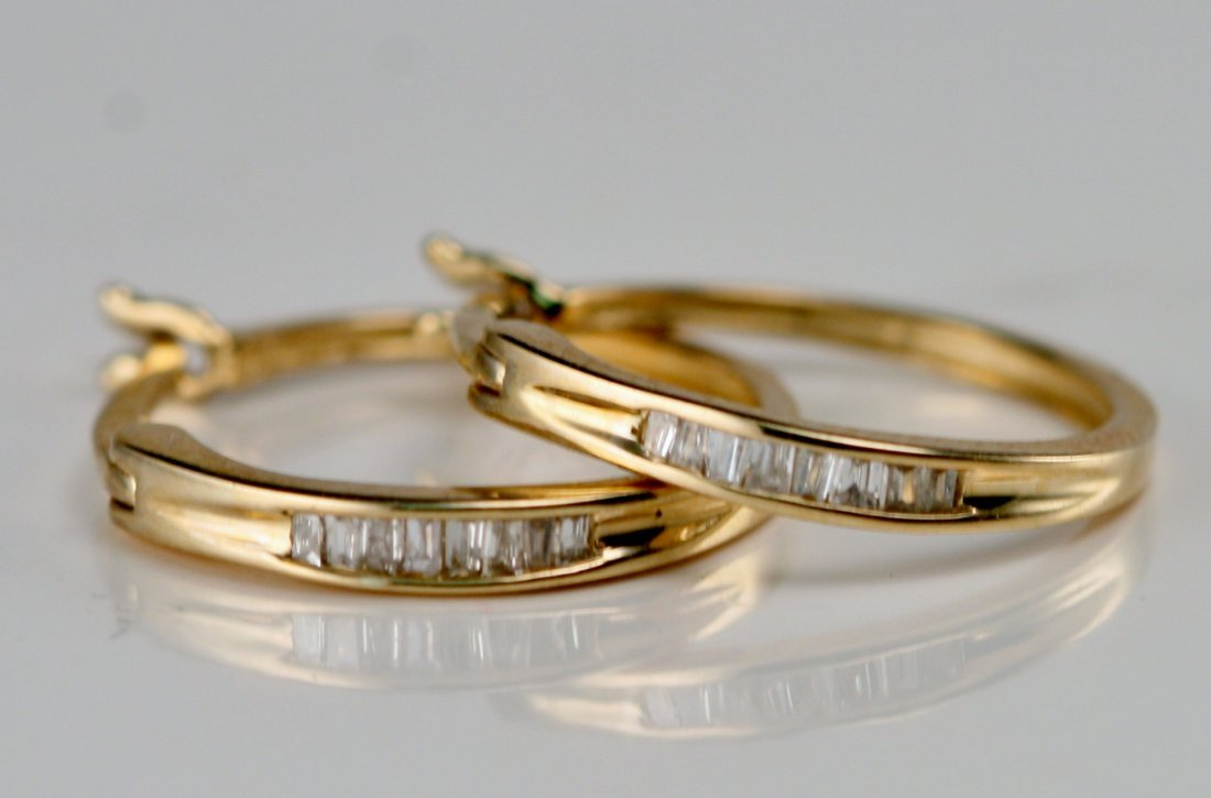 14K Y/G DIAMOND HOOP EARRINGS