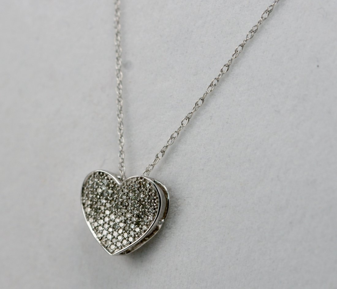 14K W/G DIAMOND HEART NECKLACE