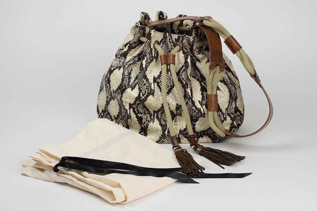 "New Lanvin Large Gaby Python"" Bucket Drawstring Bag"