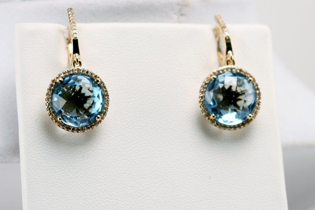 14K Y/G DIAMOND AND BLUE TOPAZ ER