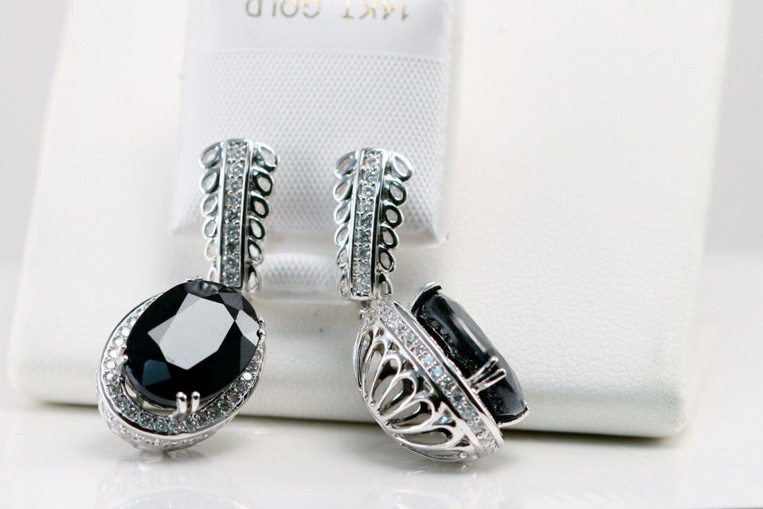 14K W/G EARRINGS - WT & BLACK DIAMONDS