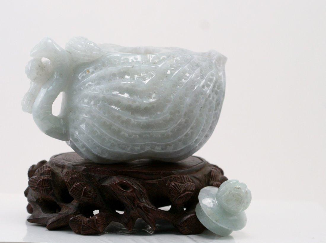 Jadeite Teapot Carved as a Melon Fruit