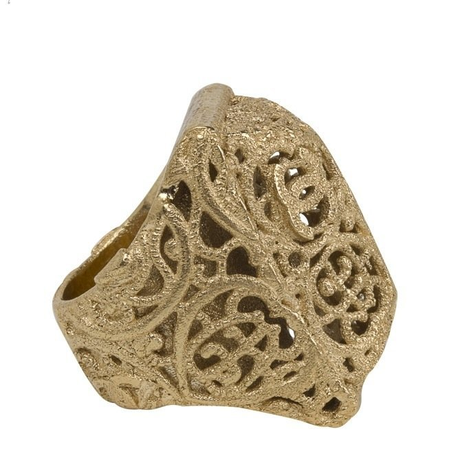 CHANEL RUNWAY Oversized Gold Metal Filigree Ring