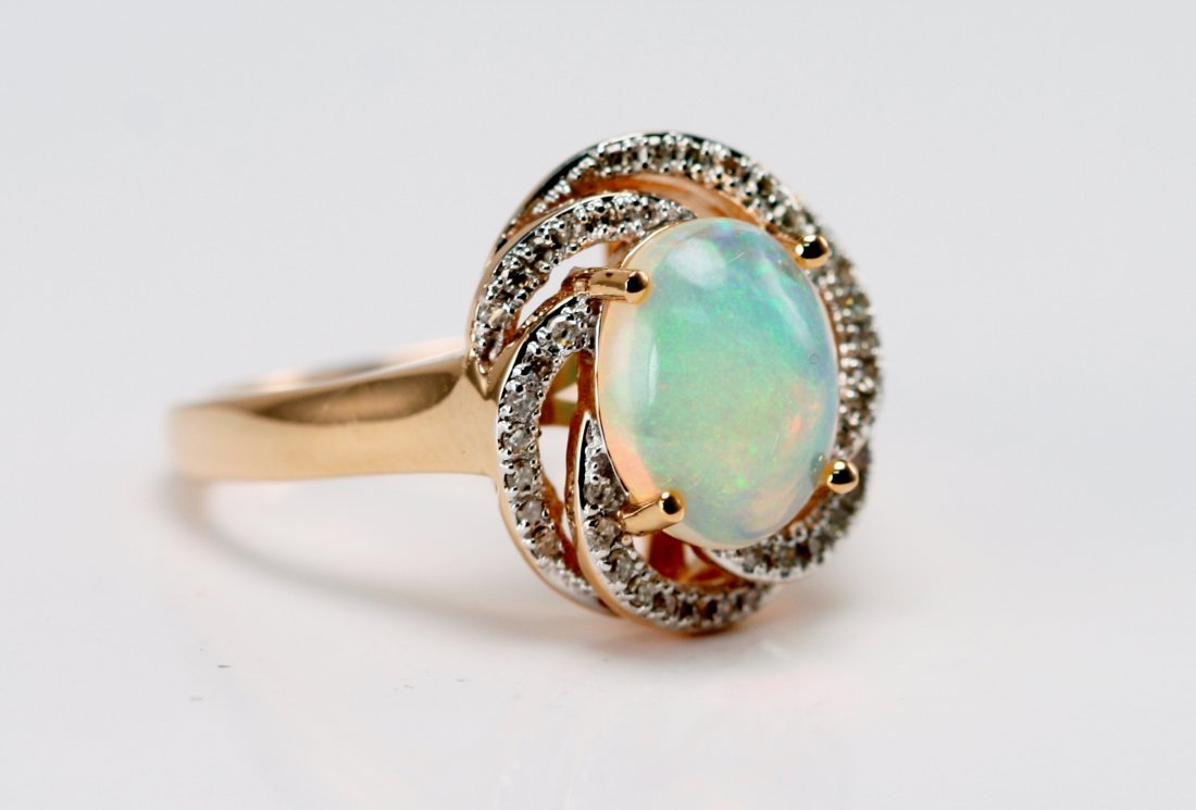 14K Y/G DIAMOND AND OPAL RING