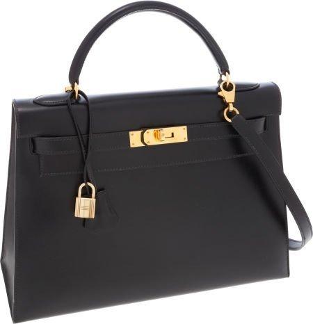 Authentic Hermes 32cm Black Calf Box Leather Kelly Bag