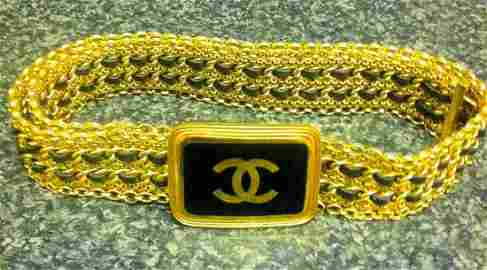 """Chanel 30"""" Gold and Black Leather woven Belt"""