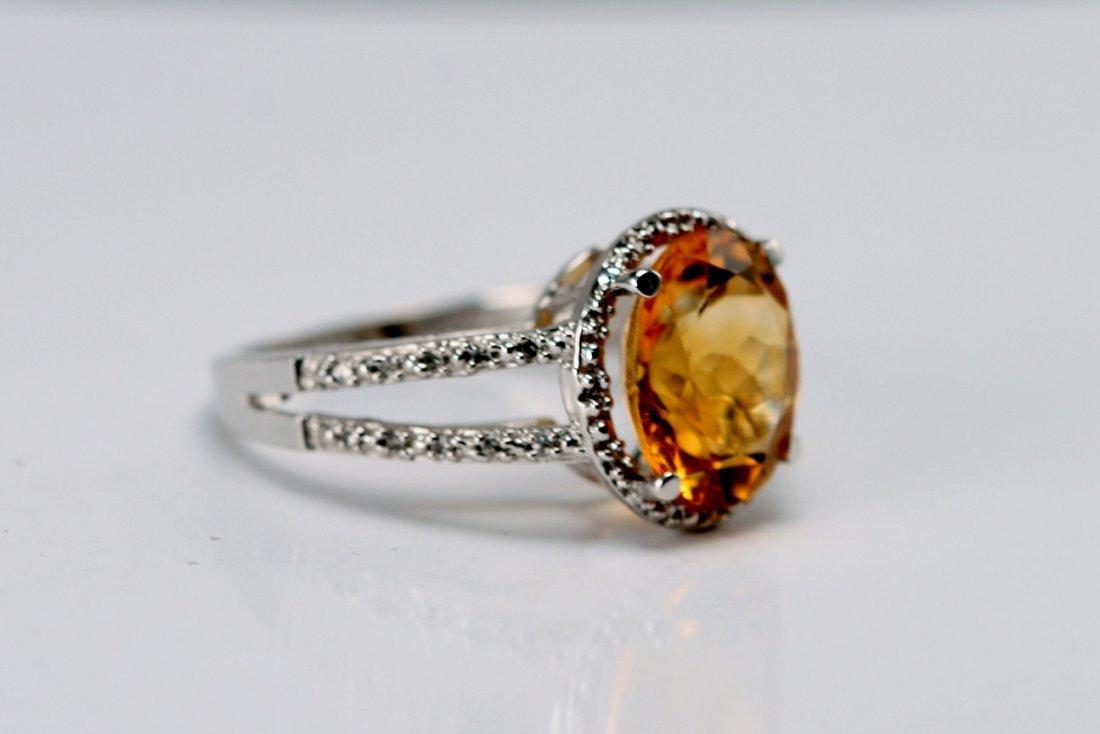 14K W/G DIAMOND & CITRINE RING.