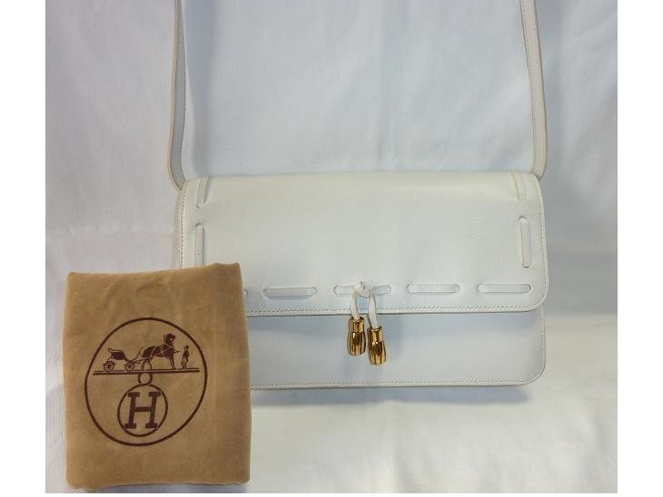 "HERMES Gold plated WHITE ""Moccasin 23cm"""