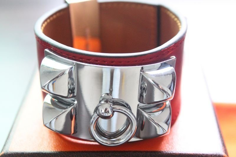 Hermes CDC Collier DE Chien Red Leather With Silver Har