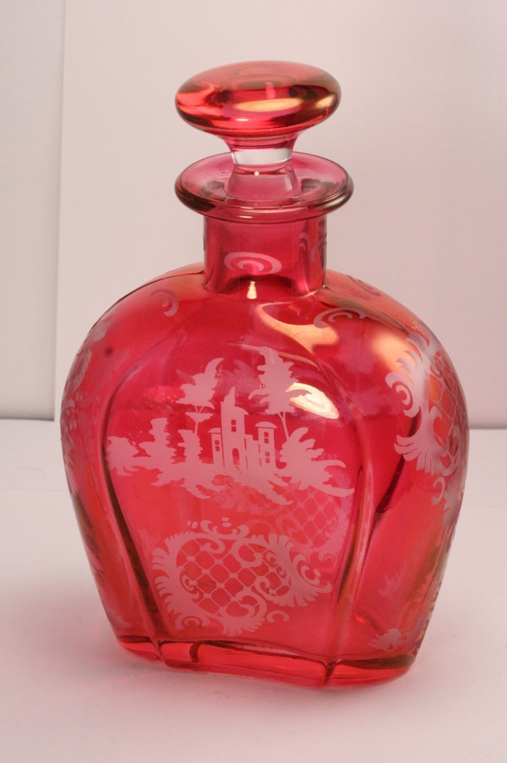 ETCHED CRANBERY GLASS DECANTOR
