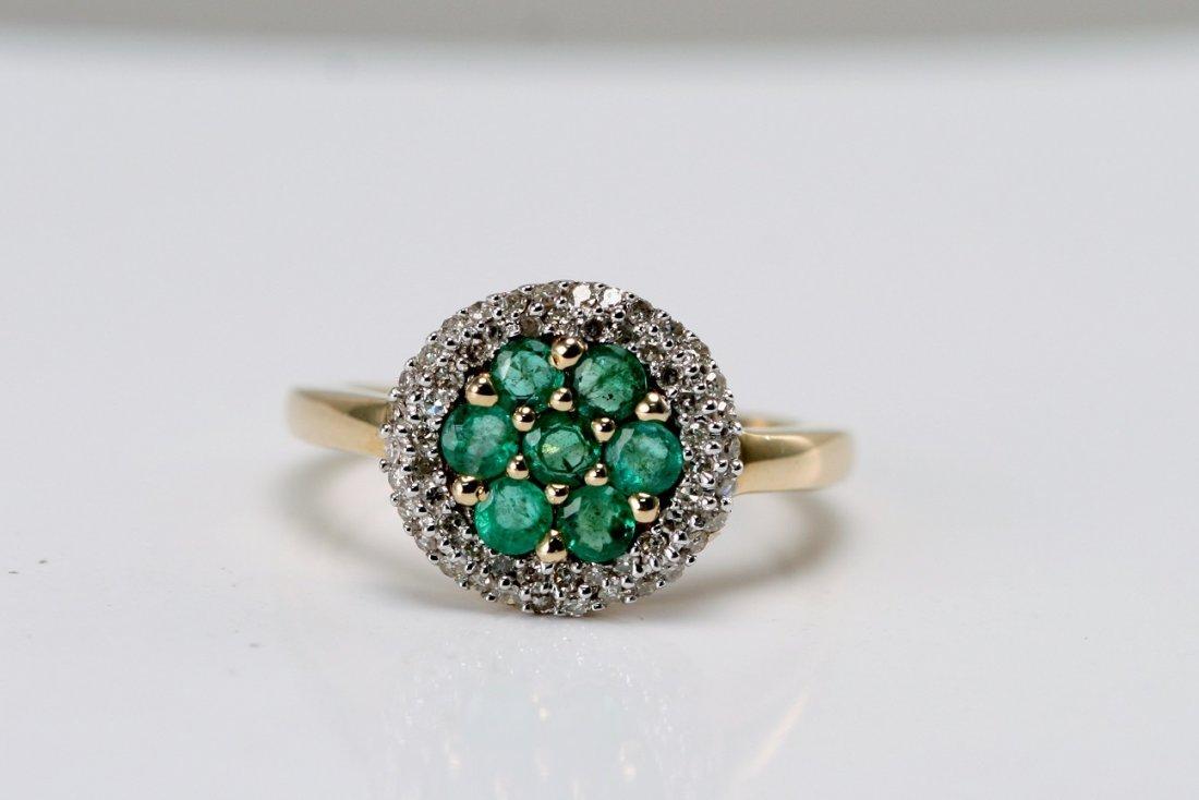 14K Y/G DIAMOND AN D EMERALD RING