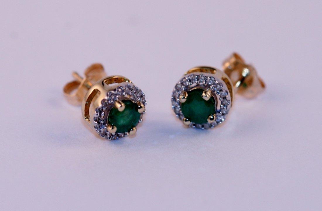 14K Y/G DIAMOND AND EMERALD EARRINGS