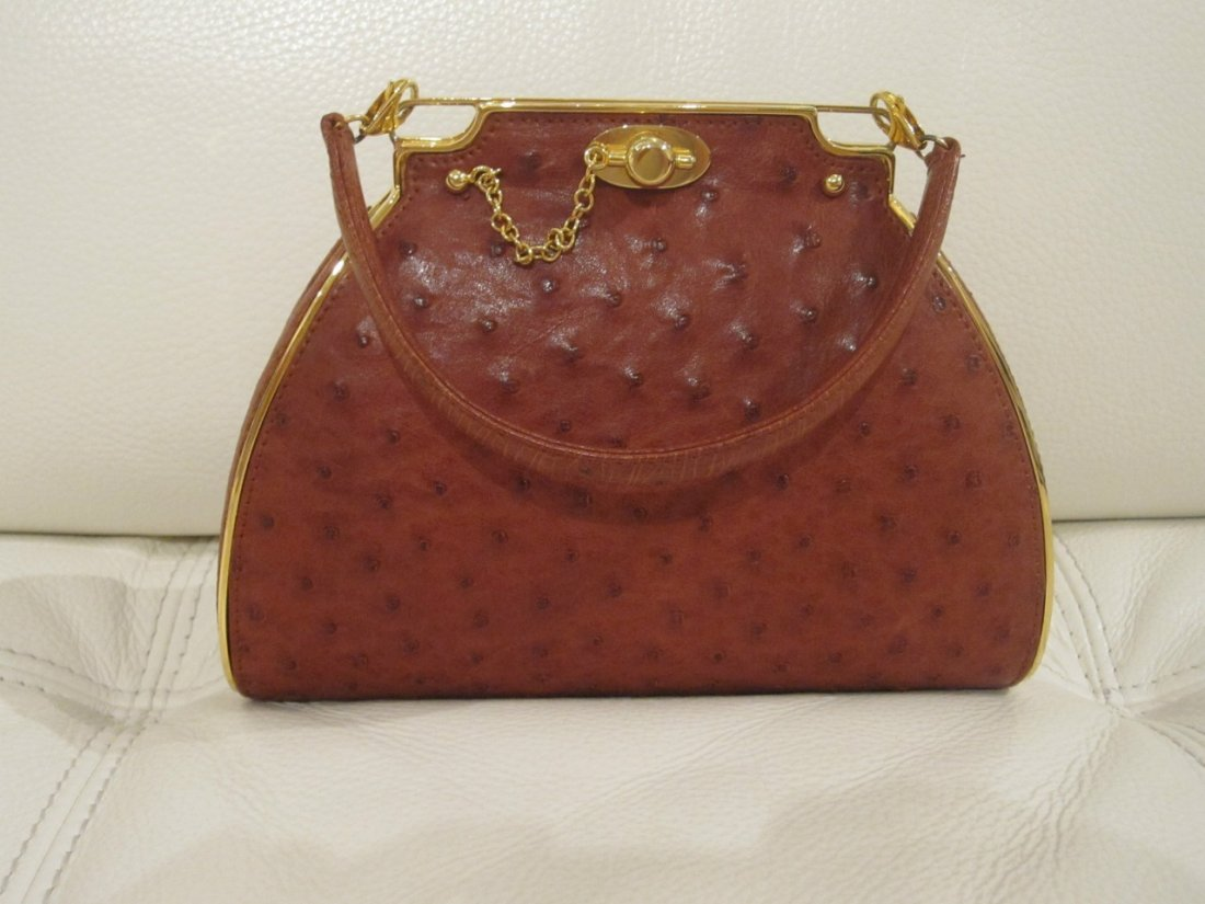 RUDOLF KRELL COGNAC OSTRICH LEATHER AND GOLD MINI