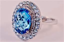 14K WG DIAMOND  BLUE TOPAZ RING