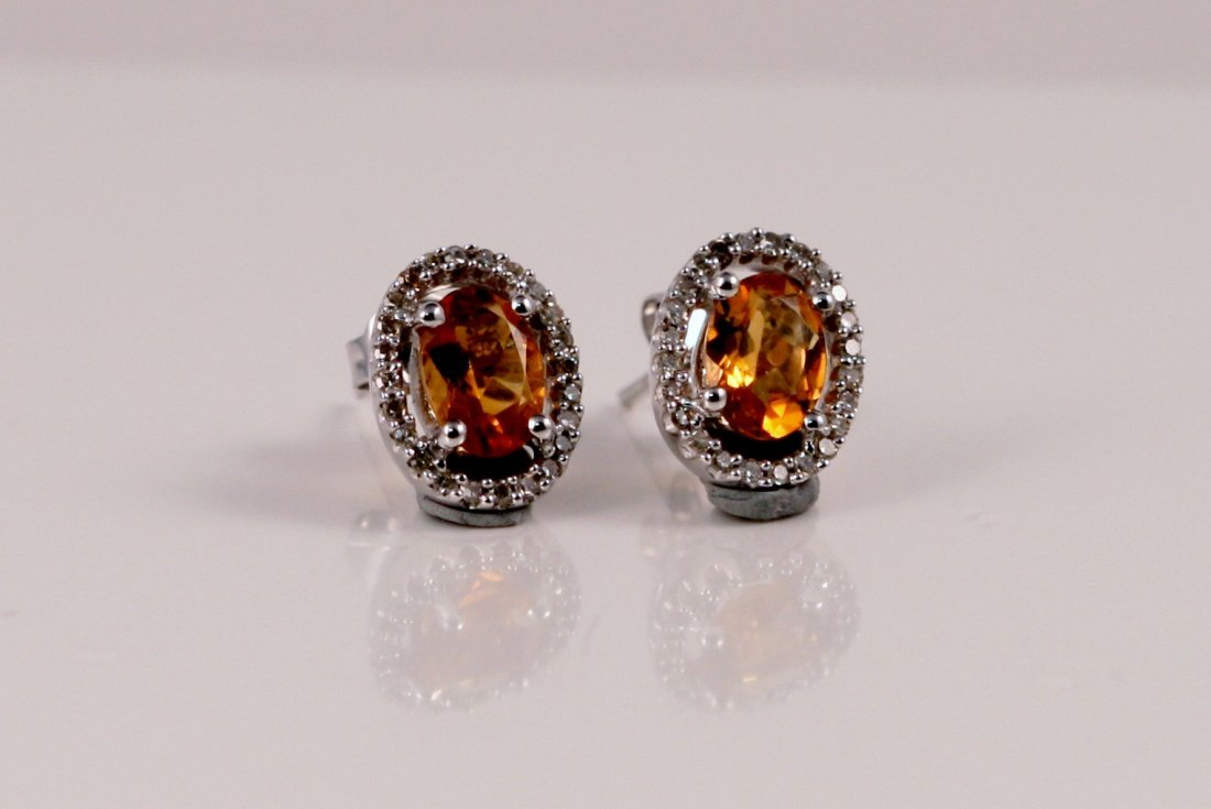 14k y/g citrine and diamond earrings