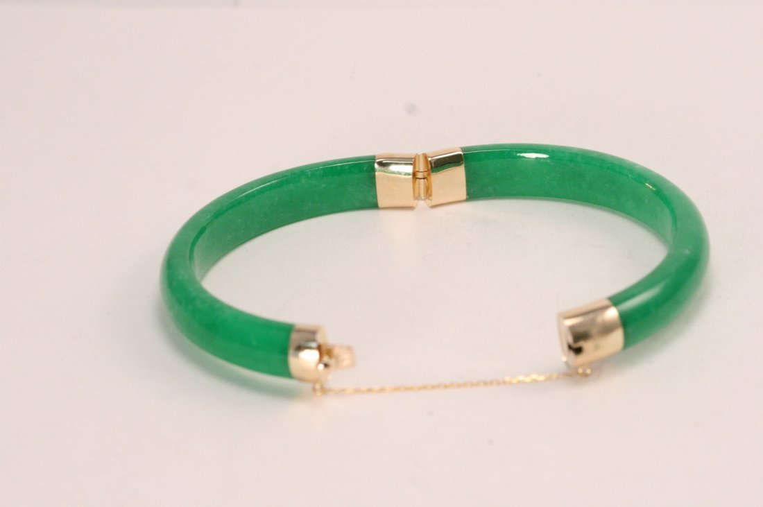 LARGE JADE & 14K GOLD BANGLE