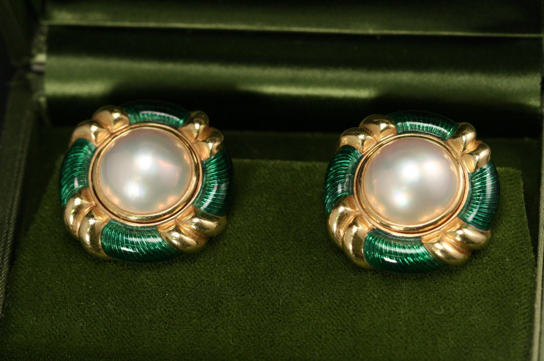 18K Y/G AND PEARL EARRINGS