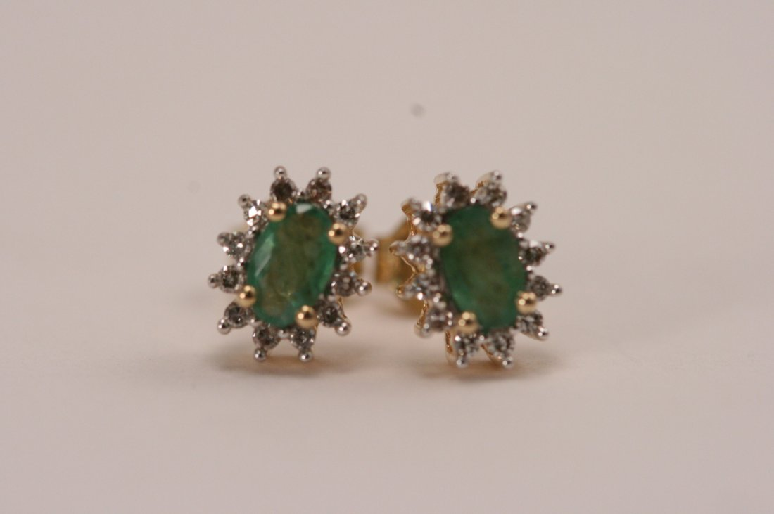 14K Y/G DIAMOND AND EMERALD ER