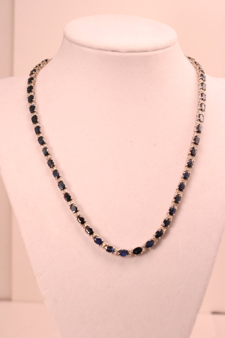 14K W/G SAPPHIRE NECKLACE WITH DIAMONDS
