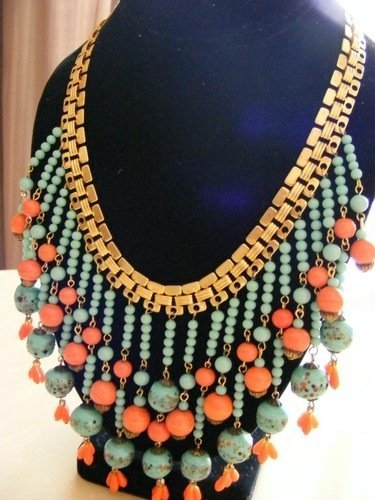 VINTAGE MIRIAM HASKELL EGYPTIAN DROP NECKLACE *SIGNED*