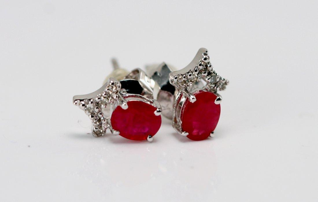 14K W/G RUBY AND DIAMOND EARRINGS