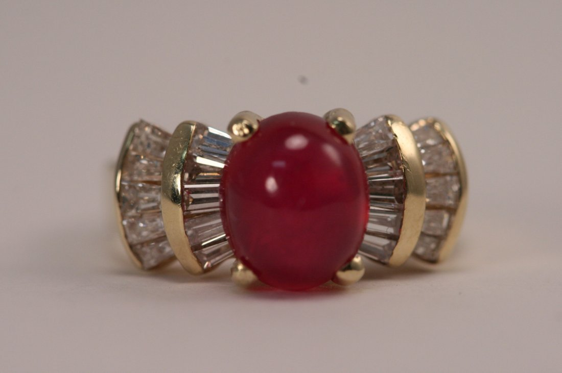 14K Y/G DIAMOND AND RUBY RING