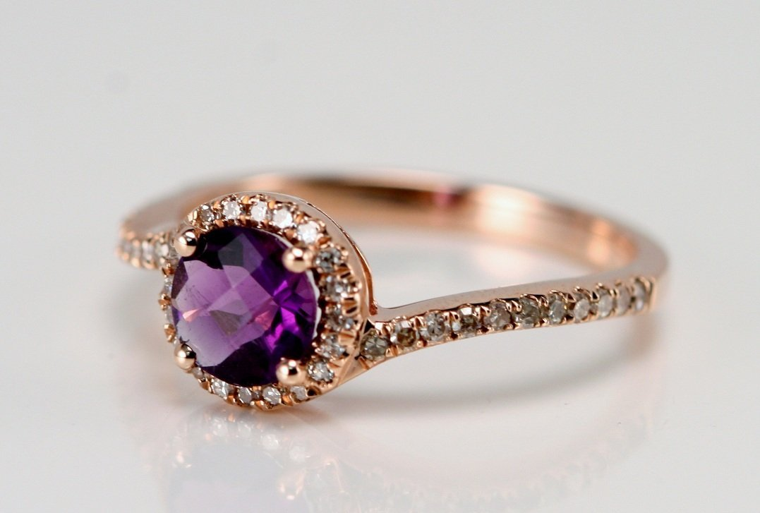 ROSE GOLD AND AMETHYST AND DIAMOND RING