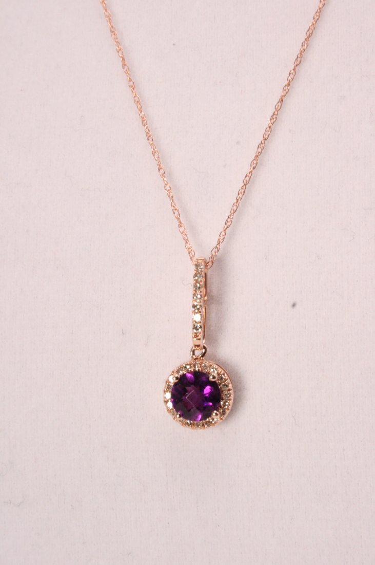 14K ROSE GOLD AMETHYST AND DIAMOND NECKLACE