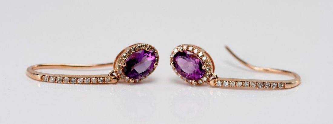 14K ROSE GOLD EARRINGS SET WITH DIAMONDS AND AMETHYST