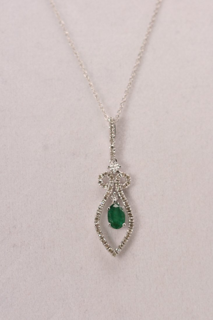 14K W/G DIAMOND AND EMERALD NECKLACE