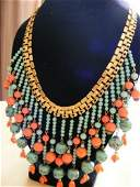 VINTAGE MIRIAM HASKELL EGYPTIAN DROP NECKLACE SIGNED