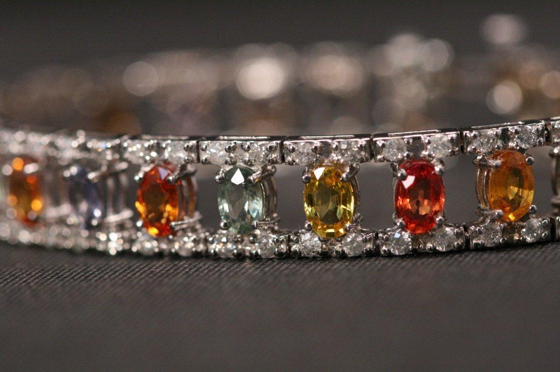 14K W/G DIAMOND & MULTI COLOR SAPPHIRE BRACELET