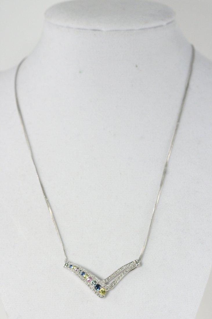 14K W/G DIAMOND AND MULTI COLOR SAPPHIRE NECKLACE