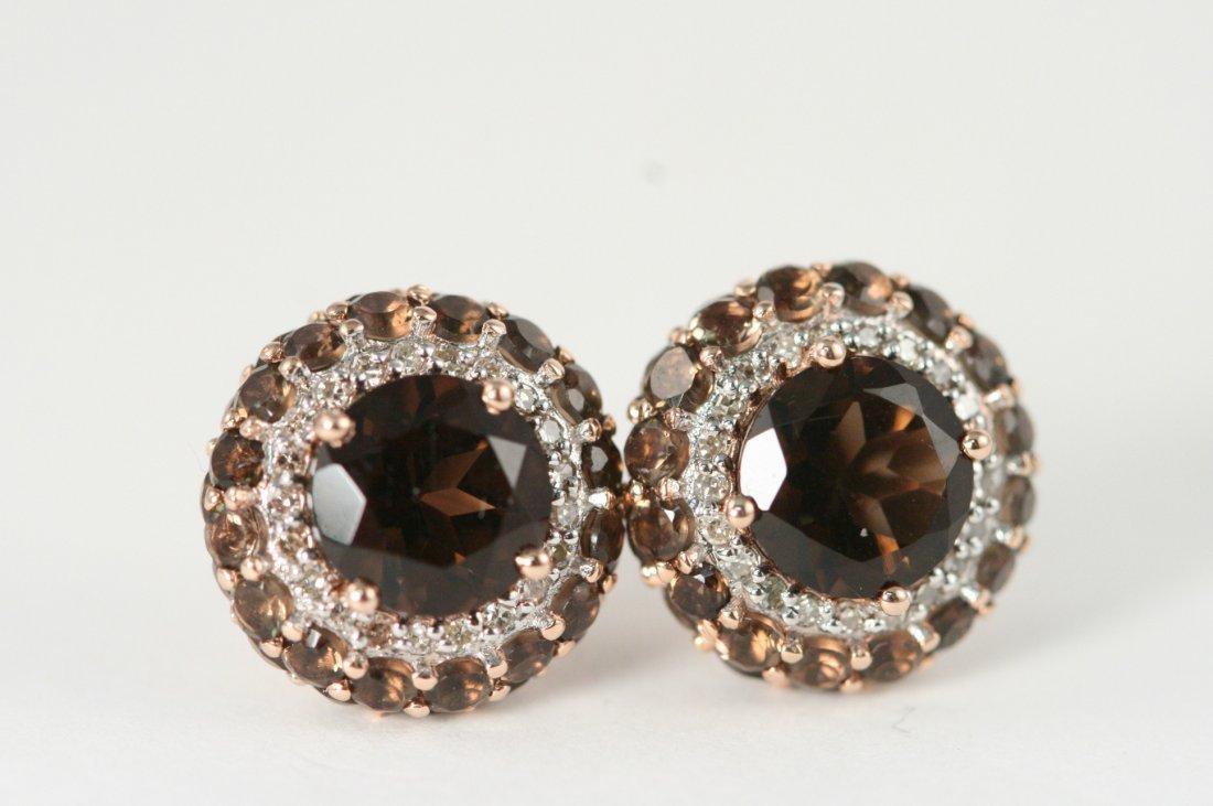 ROSE GOLD SMOKEY TOPAZ AND DIAMOND EARRINGS 14K