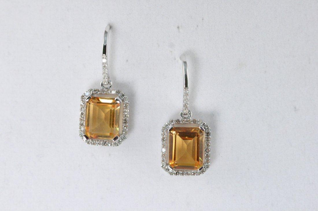 ER 14K W/G CITRINE AND DIAMOND EARRINGS