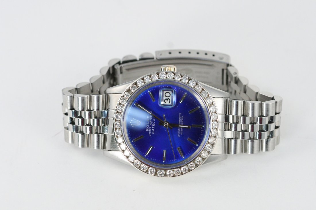ROLEX MENS DATEJUST STAINLESS STEAL WATCH WITH DIAMONDS