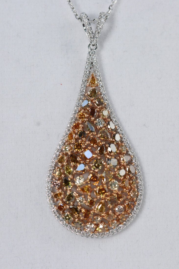 14K W/G  WHITE AND FANCY COLORED DIAMOND PENDANT