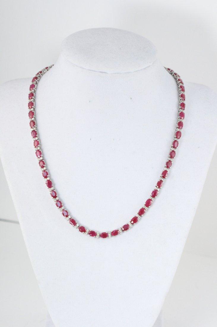 STYLISH 14K W/G NECKLACE WITH DIAMONDS AND RUBIES