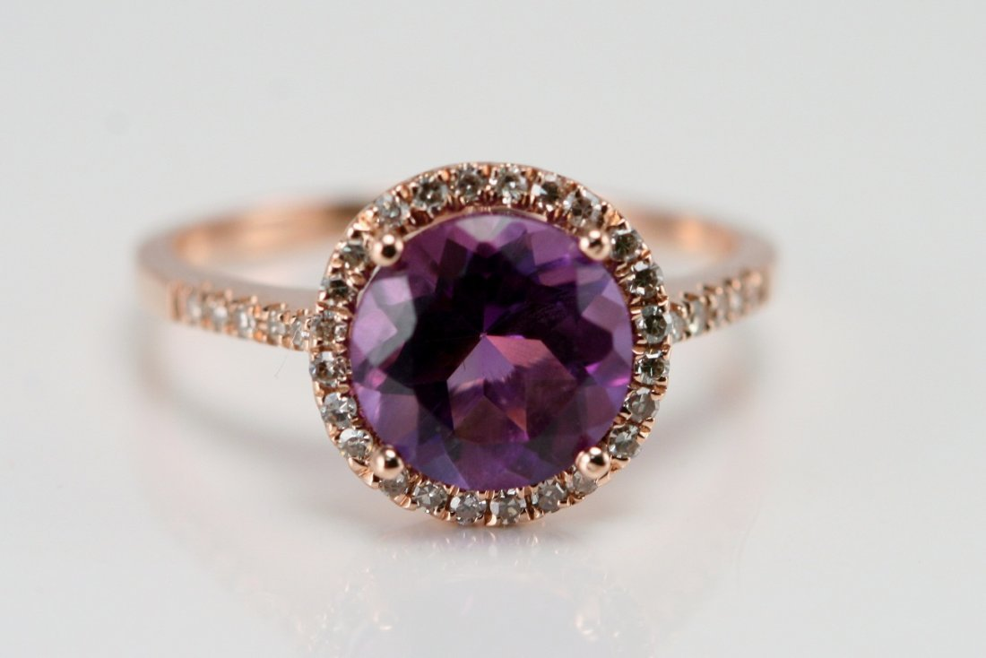 14K ROSE GOLD AND AMETHYST RING